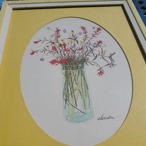 Floral watercolor signed by artist